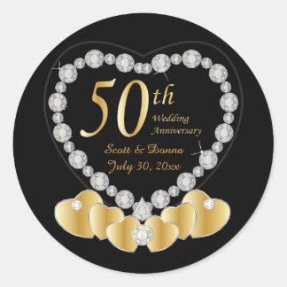 50th Golden Wedding Anniversary | DIY Text Round Sticker