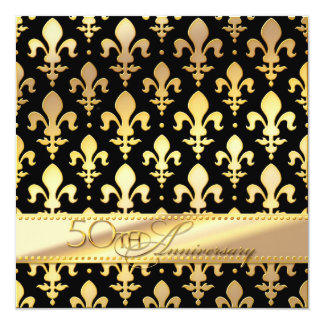50th, Golden Wedding Anniversary, Fleur de Lis 13 Cm X 13 Cm Square Invitation Card