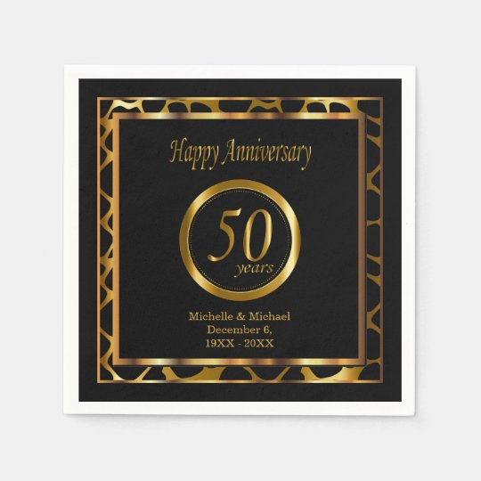 50th Golden Wedding Anniversary | Giraffe Pattern Paper