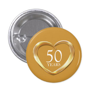 50th golden wedding anniversary heart button badge