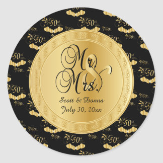 50th Golden Wedding Anniversary in Gold and Black Round Sticker