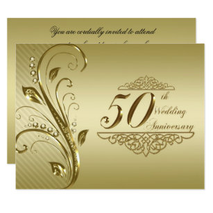 golden anniversary wedding invitations zazzle co uk