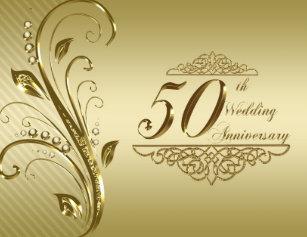 Golden wedding anniversary invitations announcements zazzle 50th golden wedding anniversary invitation card stopboris Image collections