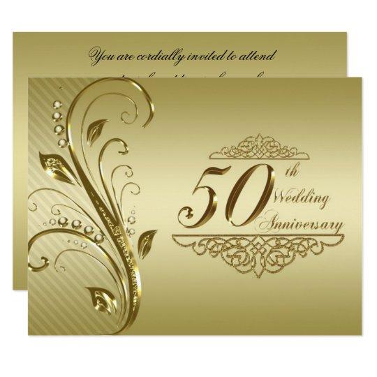 Golden Wedding Anniversary.50th Golden Wedding Anniversary Invitation Card
