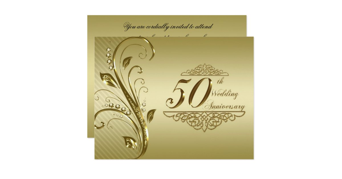 Golden Wedding Anniversary Invitations: 50th Golden Wedding Anniversary Invitation Card