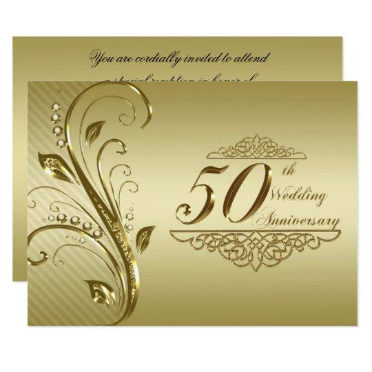 50th golden wedding anniversary invitation card zazzle 50th golden wedding anniversary invitation card stopboris Image collections