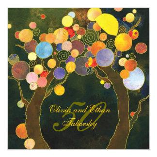 50th Golden Wedding Anniversary Invite: Love Trees 13 Cm X 13 Cm Square Invitation Card
