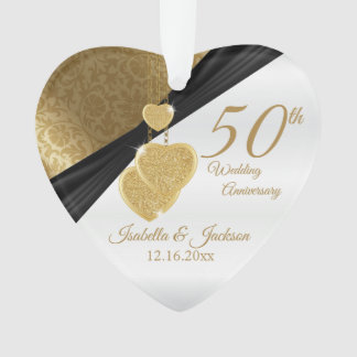 50th Golden Wedding Anniversary Keepsake Design Ornament
