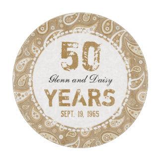 50th Golden Wedding Anniversary Paisley Pattern Cutting Board