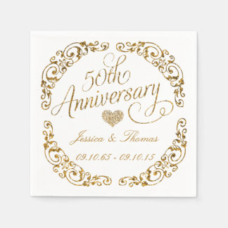 50th Golden Wedding Anniversary Paper Napkins