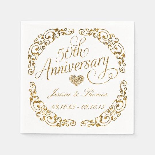 50th golden wedding anniversary paper napkins disposable napkin