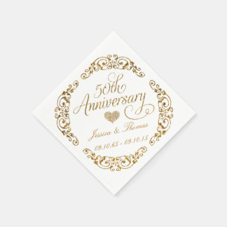 50th Golden Wedding Anniversary Paper Napkins Disposable Serviette