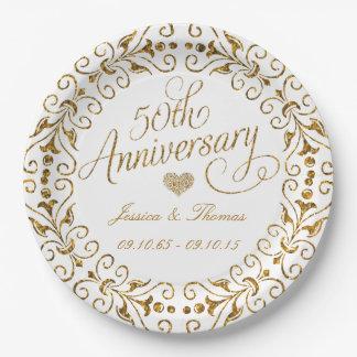 50th Wedding Anniversary Plates