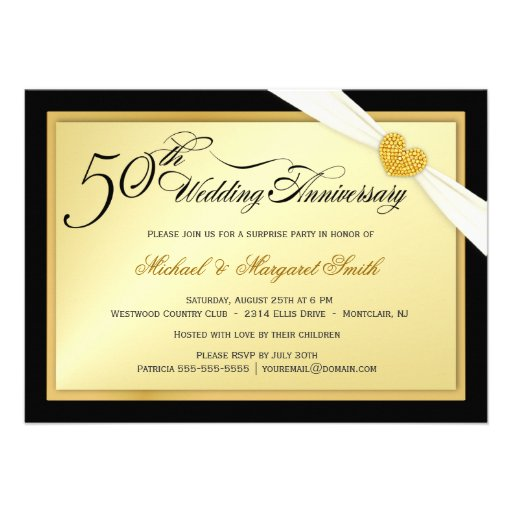 Th golden wedding anniversary party invitations cm