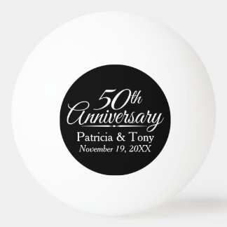 50th Golden Wedding Anniversary Personalized Ping Pong Ball
