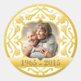 50th golden wedding anniversary photo stickers.