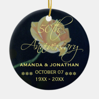 50th Golden Wedding Anniversary Rose Christmas Ornament