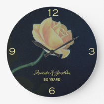 50th Golden Wedding Anniversary Rose Large Clock