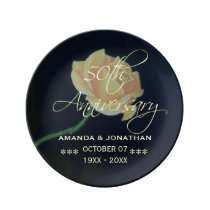 50th Golden Wedding Anniversary Rose Plate