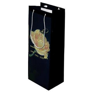 50th Golden Wedding Anniversary Rose Wine Gift Bag