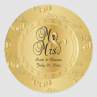 50th Golden Wedding Anniversary Round Sticker