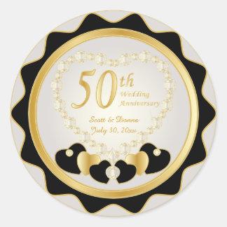 50th Golden Wedding Anniversary Round Sticker