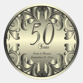 50th Golden Wedding Anniversary Classic Round Sticker