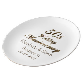 50th Golden Wedding Anniversary Typography Elegant Plate