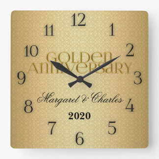 50th Golden Wedding Annivsersary Custom Wall Clock