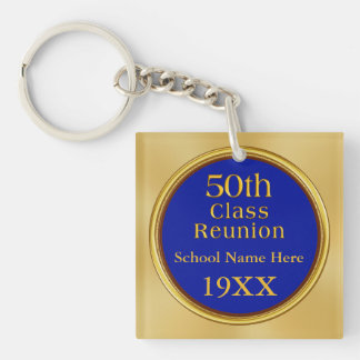 50th High School Class Reunion, Your Text, Colors Double-Sided Square Acrylic Key Ring
