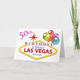 50th Las Vegas Birthday Card