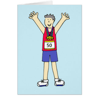 50th marathon Congratulations for a male. Greeting Card