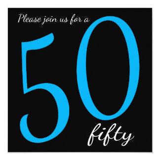 50th Milestone Birthday Party  | DIY Text | Blue 13 Cm X 13 Cm Square Invitation Card