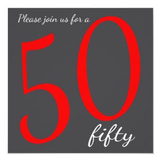 50th Milestone Birthday Party    DIY Text   Red 13 Cm X 13 Cm Square Invitation Card