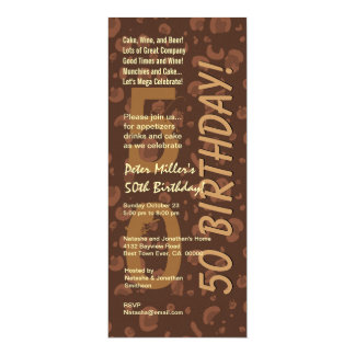 50th Modern Birthday Chocolate Coffee Camo Tall Card