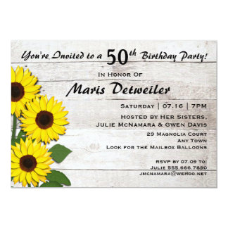 50th or Any Birthday Party Sunflower Invitations