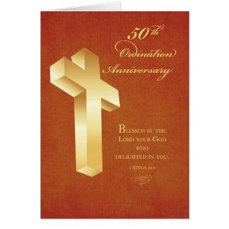 50th Ordination Anniversary Gold Cross Greeting Card