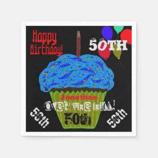 50th Over the Hill Personalized Blue Cupcake Disposable Napkin