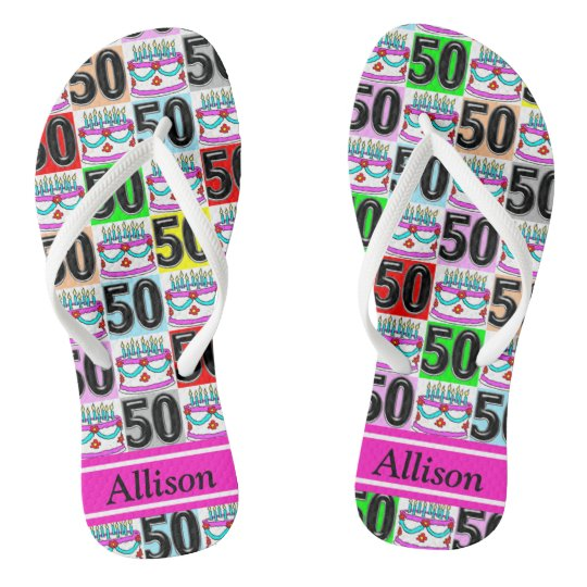 50TH PERSONALIZED BIRTHDAY CAKE FLIP FLOPS
