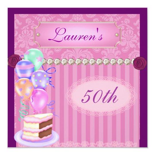 50th  Pink BirthdayPopular Damask Invitation