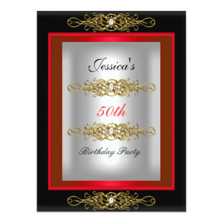 50th Red Black Silver Birthday Party 6.5x8.75 Paper Invitation Card