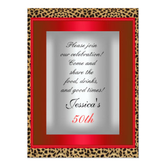 50th Red Leopard Silver Birthday Party 17 Cm X 22 Cm Invitation Card