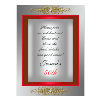 50th Red  Silver Birthday Party 17 Cm X 22 Cm Invitation Card