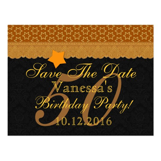 50th Save the Date Birthday Gold Lace A1A Postcard
