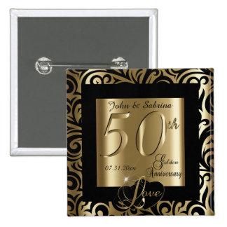 50th Silver Wedding Anniversary 2 Inch Square Button