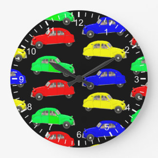 50th Style Citroen 2CV Pattern Large Clock