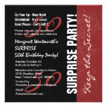 50th SURPRISE Birthday Black and Red Grunge Personalised Invites
