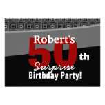 50th Surprise Birthday Black White Red W1920 Custom Announcements
