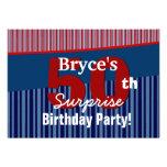 50th Surprise Birthday Blue Red Stripes V06