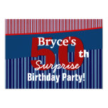50th Surprise Birthday Blue Red Stripes V06 Invites